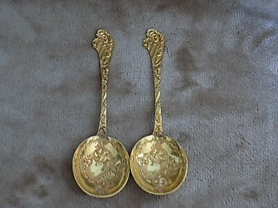 A pair of Antique Martin Hall & Co - Plated-Berry Spoons-serving Spoons