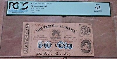 1863 Cr.3 State of Alabama .50 cent Confederate Currency Montgomery New 62