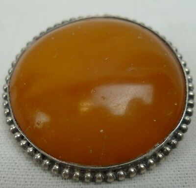 Antike  Bernstein Brosche 800er Silber antique butterscotch amber brooch 琥珀