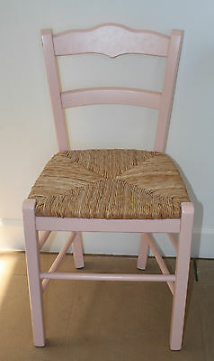 Pottery Barn Kids Pink Farmhouse Chair With Natural Woven Rush Seat