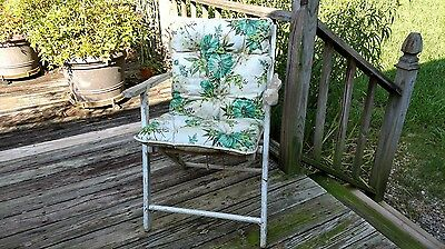 Folding Chair Vintage Chippy White Paint Wood Chair Shabby Garden Camping Retro