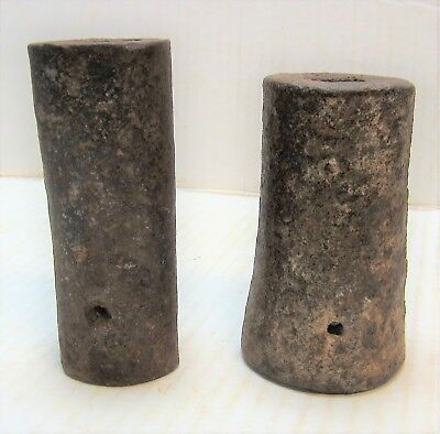 Pair Of Antique Hand Forged Iron Signal Cannons