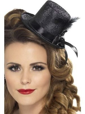 Women's Black Burlesque Mini Glitter Top Hat Feather Fancy Dress Hen Party Theme