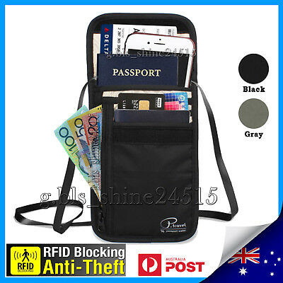 Genuine RFID Blocking Passport Card Holder Neck Stash Security Travel Wallet Pou