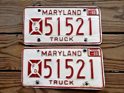 1980 Maryland Yom Pair License Plate Tag Number 51 52 1  Vintage Md  Fire Truck