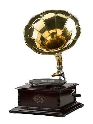 Gramophone Player 78rpm Square phonograph Brass Horn HMV Vintage Wind up