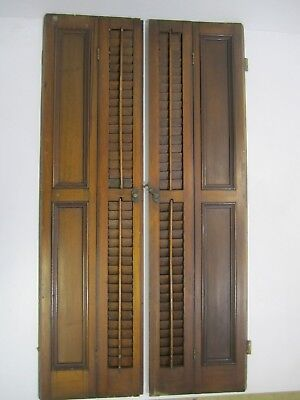 Antique Vtg Large Pair of Wooden WALNUT Louvered Inside Window Shutters Rustic