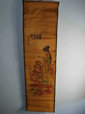 Chinas 19 Jh. Scroll Paper painting Handbemalte Of Tiger Schönheit Statue