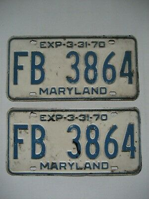1970 Maryland License Plates Matching Pair