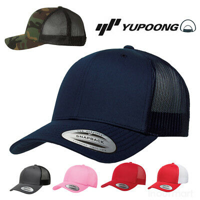 Yupoong Classic Blank Retro Cotton Trucker Mesh Cap Snapback Hat 6606T Hat NEW