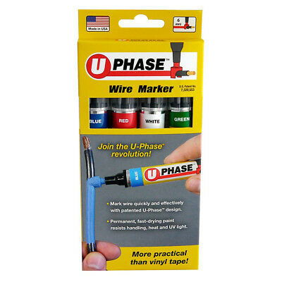 U-Mark U Phase Wire Cable Markers (Pack of 4) - Red, Blue, White, Green