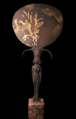 Ancient Egyptian mirror lotus flower nude women handle BC