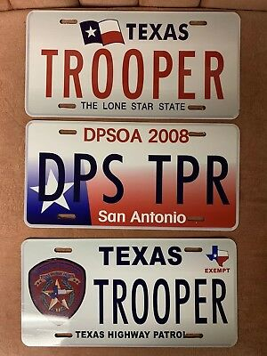 Texas DPS state Trooper License Plate Set