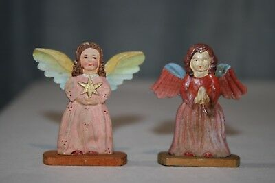 "Pair of Hand Carved Miniature Wood Wooden 2 1/4"" Angel Figures"
