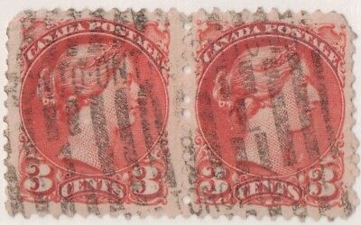 Canada, USED, # 37 Horizontal Pair.  $0.03 Small Queen. TORONTO ROLLER cancel.