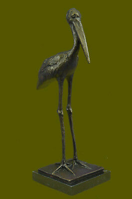 Vintage Bronze Or Brass Crane/Stork Sculpture--Finely Detailed-Great Patina Art