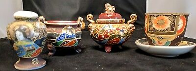 Lot of 4 (four) Vintage Japanese Hand Painted Satsuma Moriage pieces Tea cup