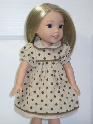 "Brown Polka Dot Dress For 14.5"" Wellie Wishers American Girl Doll Clothes"