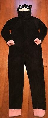 PJ Couture Black Fleece Zip Up Fuzzy One Piece Hooded Cat Pajama Sz Medium 63692db3f