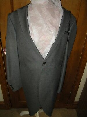 "New M & S Morning Jacket Grey Tails Smart Tailored Wedding Size 38"" New"