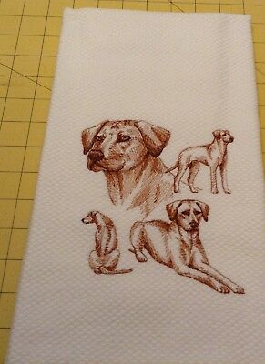 Rhodesian Ridgeback Collage Sketch Embroidered Wm Sonoma Kitchen Hand Towel