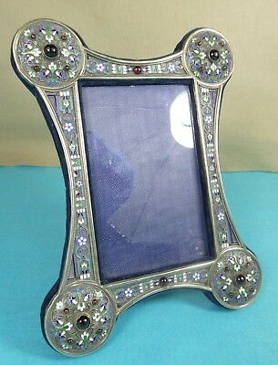 Russian Sterling Silver Cloisonne Enamel Picture Frame Cabochon Garnets Easel