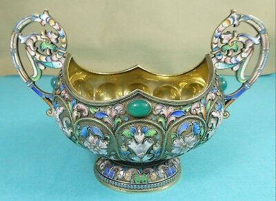 Stunning Russian Sterling Silver Gilt Cloisonne Enamel Bowl Stones Moscow C1910