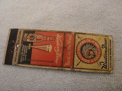 Western Brew Sioux City Brg. Co. Iowa Match Book Cover  Older