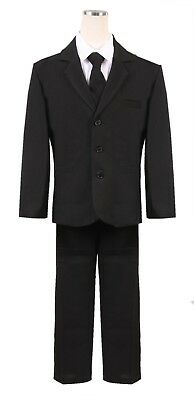 Boys HUSKY Big and tall Black Formal Suit 5pc Complete set wedding spring fancy