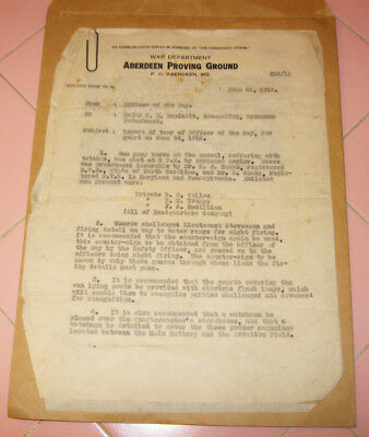 US Army 1918 Daily Report Aberdeen Proving Ground Maryland WWI Horse Flashlights