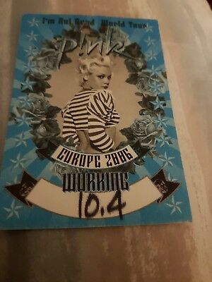 P!nk Concert Cloth Backstage Pass 2006 Im Not Dead Tour