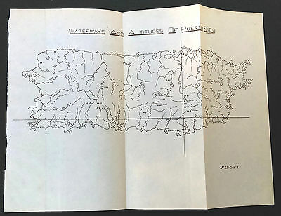 1901 Waterways and Altitudes of Puerto Rico Sketch Map J.R. Shettel