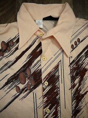 VINTAGE 70s FUNKY DISCO shirt 100% polyester retro graphic mod ls mens L