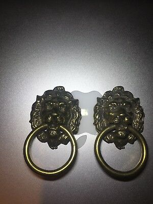 Pair Of VINTAGE LION HEAD with Ring  CAST  BRASS   Drawer Pull  KB04  H377