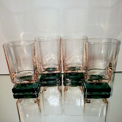 4 (Four) VINTAGE Cristal D'Arques Square Pink & Navy Footed Barware Glasses