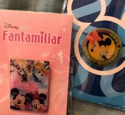 lot of 2 disney store trading pins Japan Japanese Mickey and Friends Fantamiliar