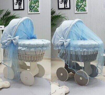 Wicker Moses Basket With Hood Tulle + Stand + Big Wheels & Blue Bedding
