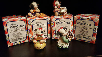 Mary's Moo Moos Lot of 4 Exclusive Christmas Figurines - Swiss Colony