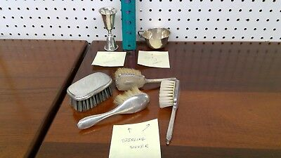 Solid Sterling Silver Antique Estate pieces including child's doll brushes.