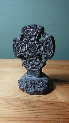 "Handmade Carved 4"" Miniature Stone Celtic Cross Souvenir Ornament"