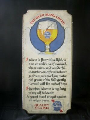 Vintage Pabst Blue Ribbon Beer Man's Creed Wooden Sign