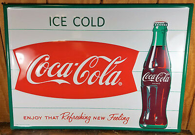 Ice Cold Coca Cola Fishtail Bottle Logo Heavy Duty American Made Coke Metal Sign