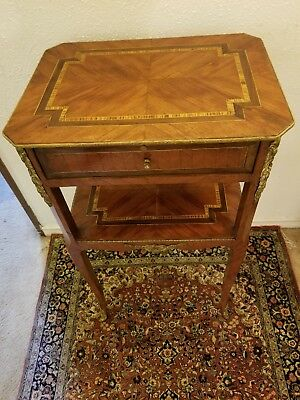 Antique French Louis XV Style Side End Table w/ 1 Drawer Marqueterie Inlaid