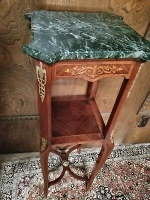 Antique French Louis XV Accent Plant Table Stand c 1864-70 with Verde Marble Top