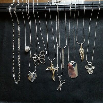 Joblot 925 Silver Necklaces x10 In Total