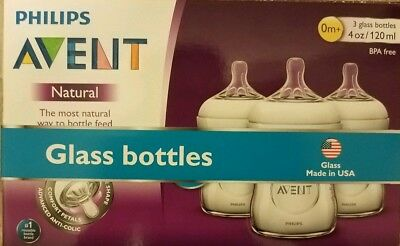Philips Avent 3 Pack Natural Anti-Colic 4oz Glass Feeding Bottles New Open Box