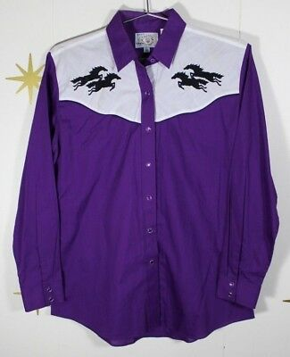 Vintage Women's ELY Country Charmers Purple Western Embroidered Shirt Sz Medium