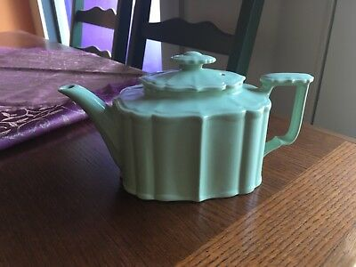 Uniquely vintage teapot from the 40's  unusual style, celadon color.