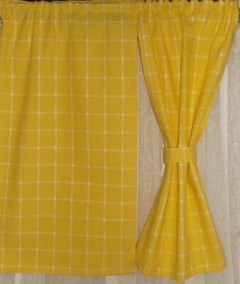 """SMALL CURTAINS 11""""w x 20"""" Yellow +Ties NEW Boat Hut Playhouse Cabin Den Handmade"""