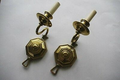 Sophisticated Pair of Antique Restored Bronze Wall Sconces Octagonal Back Plate